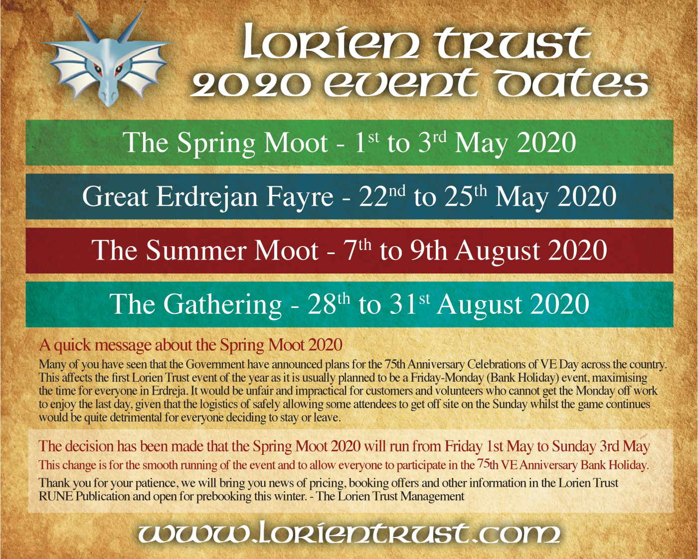 Lorien Trust 2020 Event Dates